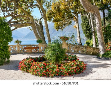 Landscape of old villa park over  Lake Como, Italy.