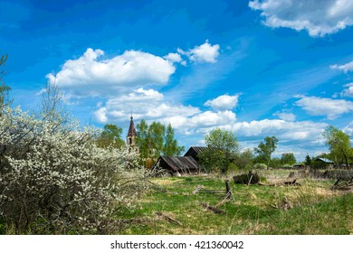 The landscape of old village in Central part of Russia on a clear Sunny day.