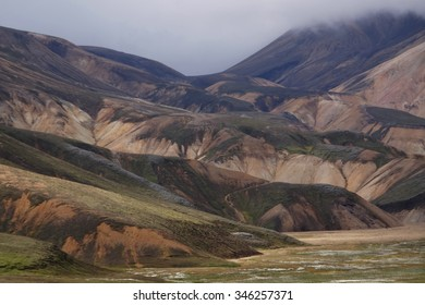 Landscape with old  volcano and hills in Iceland