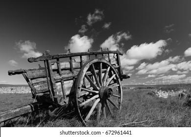 Landscape with  Old wooden cart in Villafafila (Zamora)