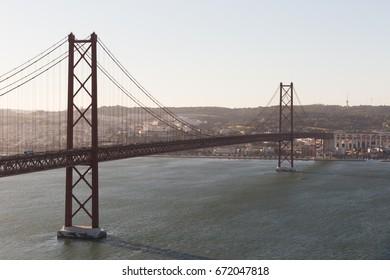 Landscape on the bridge 25 April Lisbon, Portugal