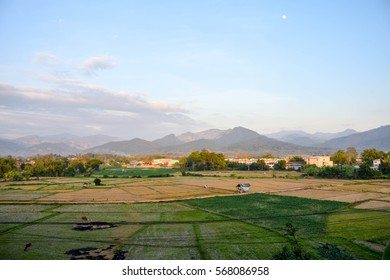 Landscape on the city of peace at Pur district, Nan Province, Thailand.