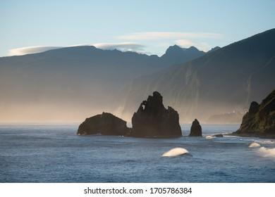 the Landscape on the coast betwen the Town Porto Moniz and Ribeira da janela on the Island of Madeira in the Atlantic Ocean of Portugal.  Madeira, Porto Moniz, April, 2018