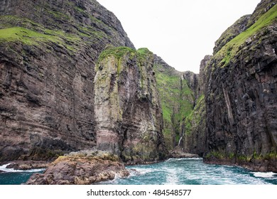 Landscape on the Faroe Islands with ocean and cliffs close to Vestmanna on Streymoy