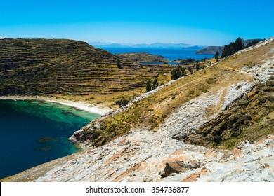 Landscape on Isla del Sol, Lake Titicaca, Bolivia