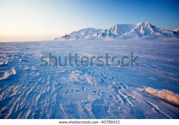 Landscape On Island Spitsbergen Svalbard Norway Stock Photo
