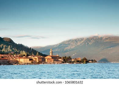 Landscape in Salò on Lake Garda in the province of Brescia, Lombardy - Italy.