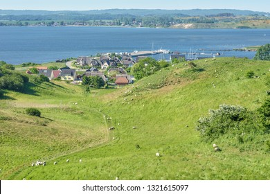 Landscape on the Moenchgut of the Island of Ruegen with a view of Gager