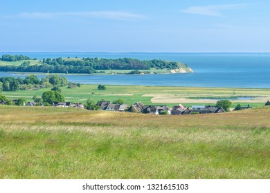 Landscape on the Moenchgut of the Island of Ruegen with a view of Gross Zicker