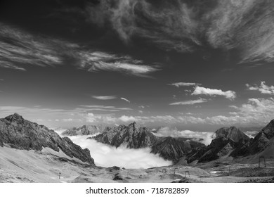 Landscape on the mountain Zugspitze in Bavaria, Germany in the summer