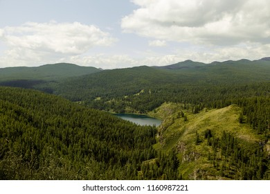 landscape on the mountains, high-altitude clean lake