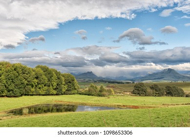 A landscape on the P317-road to Garden Castle in the Drakensberg near Underberg in the Kwazulu-Natal Province