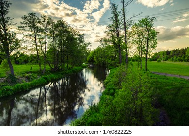 Landscape on the river, Masovia in Poland