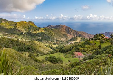 landscape on Saint Helena Island in the middle of the south atlantic ocean