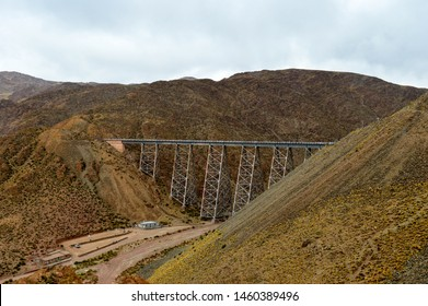 "Landscape on the ""Tren de las Nubes"" route in Salta Province, Argentina. General Manuel Belgrano Railroad in the section that joins the Salta Station with the La Polvorilla viaduct, over the Andes Mo"