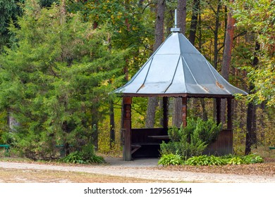 Landscape on woodland park with summerhouse