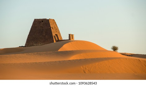 Landscape of one of last standing Pyramids in Meroe,Sudan