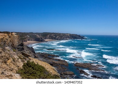 Landscape of one of the most beautiful beaches of the Costa Vicentina Natural Park in the southwest of the Alentejo