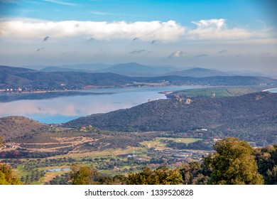 landscape of Orbetello lagoon and the Tuscan archipelago as seen from the  Monastery of the Passionist Fathers.on Argentario mount in maremma tuscany,Italy