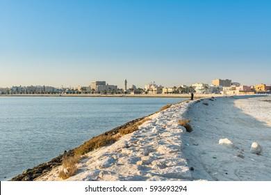Landscape of orniche park in the morning in Dammam, Saudi Arabia