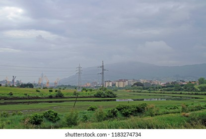 landscape in the outskirts of Santander city in Spain