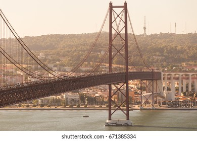 Landscape over the bridge 25 april in Lisbon, Portugal