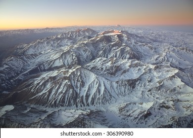 Landscape overflying the Andes range and the Aconcagua mountain