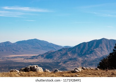 Landscape overlooking Mojave desert and mountains from Volcan Mountain Preserve view point in Julian, california
