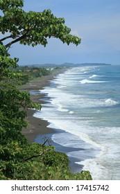 Landscape of Pacific beach in Costa Rica