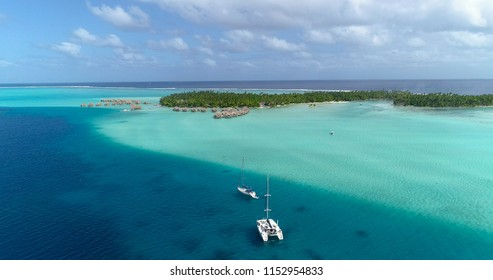 landscape of pacific islands in aerial view, french polynesia