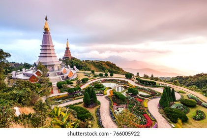 Landscape pagoda in doi Inthanon national park in chiang mai Thailand