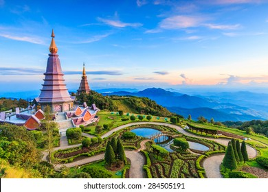 Landscape  pagoda in Inthanon national park Thailand
