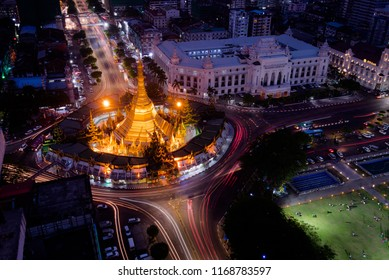 Landscape Pagoda Yangon city, Myanmar