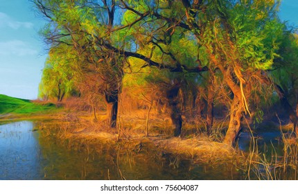 Landscape painting showing flooded old forest on sunny day.