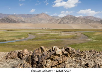 Landscape in the Pamir mountains in the area of Murghab in Tajikistan