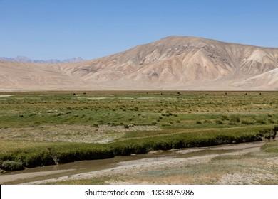 Landscape in the Pamir mountains near Bulunkul in Tajikistan