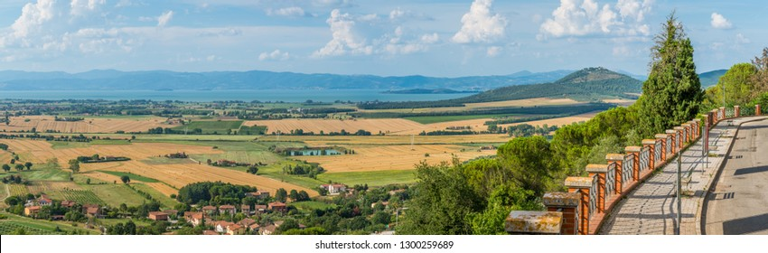 Landscape from Panicale village with Trasimeno Lake, Province of Perugia, Umbria, Italy.