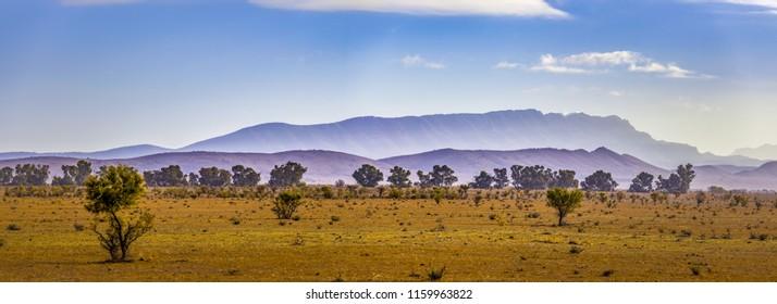Landscape panorama of Flinders Ranges mountain ridge in South Australia