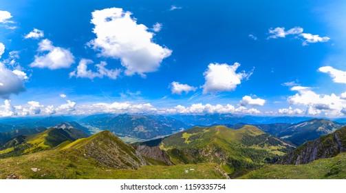 Landscape Panorama From Latschur 2.236m In Carinthia Austria