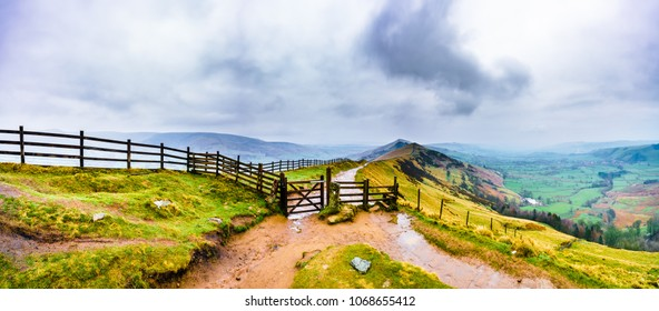 Landscape panorama of Mam Tor and Lose Hill in Peak District