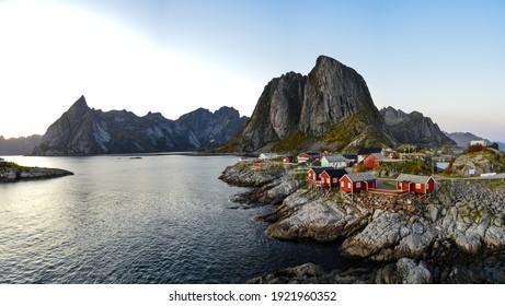 Landscape Panorama of Traditional Fishing Village Hamnoya Lofoten Islands, Norway