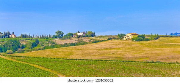 Landscape panorama from Tuscany, in the Chianti region