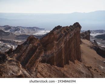 Landscape panorama view of rock formations in Valley of the moon Valle de la luna near San Pedro de Atacama desert Northern Chile South America