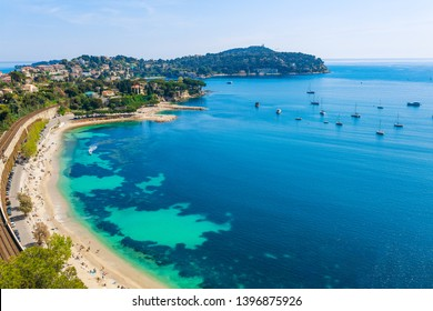 Landscape panoramic coast view between Nice and Monaco, Cote d'Azur, France, South Europe. Beautiful luxury resort of French riviera. Famous tourist destination with nice beach on Mediterranean sea