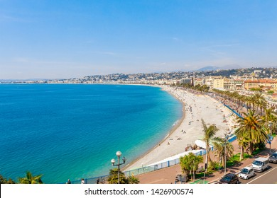 Landscape panoramic view of Nice, Cote d'Azur, France, South Europe. Beautiful city and luxury resort of French riviera. Famous tourist destination with nice beach on Mediterranean sea