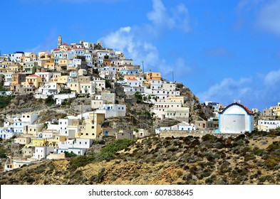 Landscape with panoramic view of Olympos in Karpathos island, Dodecanese Greece