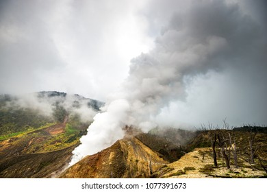 landscape of the Papandayan volcano on the western Java in Indonesia, a beautiful geological object in Asia