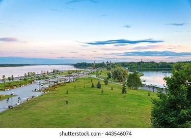landscape of park and Volga river in Yaroslavl city (Russian Golden ring)