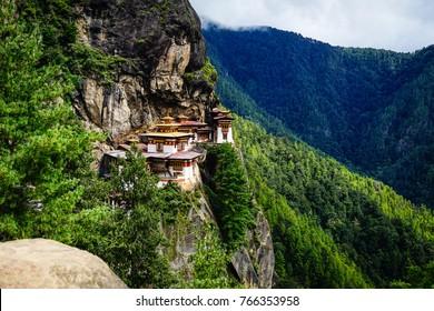 Landscape of Paro Taktsang (Tiger Nest) in Upper Paro Valley, Bhutan. Taktsang Lhakhang is Bhutan most iconic landmark and religious site.