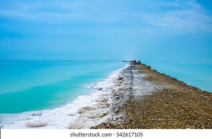 landscape of the pass way  in Dead Sea, Israel. The Dead Sea surface and shores are 430.5 m below sea level - Earth's lowest elevation on land.
